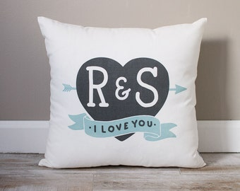 Initials In Heart Pillow | Monogrammed Gift | Gifts For Her | Valentine's Day Gift | Rustic Decor | Monogrammed Pillow | I Love You