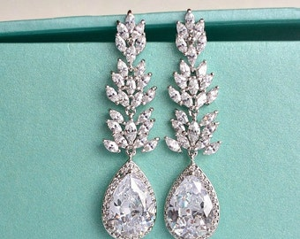 Long Crystal Teardrop Wedding Earrings. Cubic Zirconia Leaf Bridal Earrings. Long Dangle Drop Statement Chandelier Earrings. Wedding Jewelry