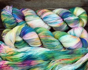 "Hand Dyed Sock Yarn - ""Colourplay 01 - Batch 1"" - Merino / Nylon - 4ply - 100g"