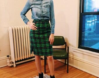 Vintage Green Plaid Pencil Skirt