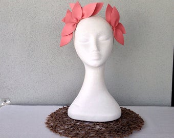 Ladies salmon pink leather crown headband fascinator
