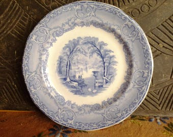 Venus pattern blue and white transferware plate