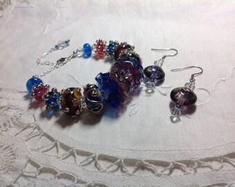Lampwork bracelet, blue lampwork bracelet, pink lampwork bracelet, glass bracelet, Mother's Day, graduation gift, girlfriend gift,