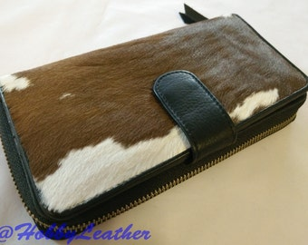 Calf Hair Clutch,Cowhide Tan and White Clutch-Wallet,Genuine Large Leather Wallet