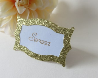 Personalized Place Cards, Gold Place Cards,  Glitter Place Cards, Wedding Place Cards, Custom Place Cards, Gold Ink Place Cards