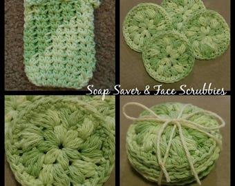 Luxurious Face Scrubbies and Soap Saver. Spa experience. Pampering soap sack. 100% Cotton. Gift for girls, mothers, teachers, wife
