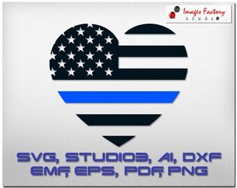 Blue Line Heart Flag , cuttable Cricut Design Space, Silhouette Digital Cut Files Instant Download, svg dxf studio3 png pdf, clipart police