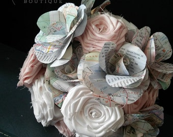 Map Bouquet ~ Paper Bouquet ~ Custom Bridal Bouquet ~ Wedding Flowers ~ Faux Bouquet ~ Fabric Bouquet ~ Forever Bouquet ~ Eco Friendly Bride