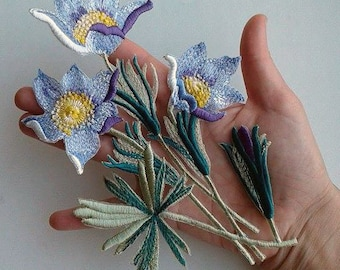 Moks29(p) pasque-flower Embroidery Patches