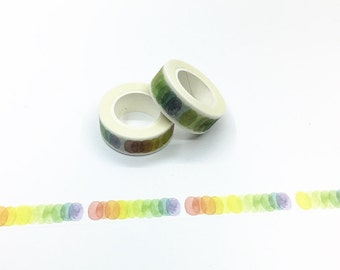 Rainbow Color Dots Washi Tape - Watercolor Series