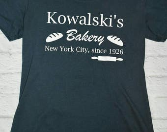 Fantastic beasts and where to find them inspired shirt, blue/grey shirt, white vinyl, Kowalski's bakery, front and back design