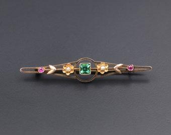 Victorian Gold Brooch, Victorian Pearl Brooch, Victorian 10K Gold, Victorian Jewelry