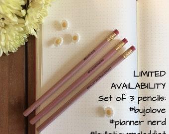 Bullet Journal HB Pencil set (x3) hashtag design - bullet journal addict - bujo love - planner nerd