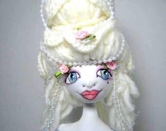 Pink Rose Cloth Art Doll Bust, Soft Sculpture Shelfsitter