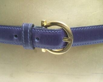 SALVATORE FERRAGAMO Italy Sleek Violet Leather Belt in Box