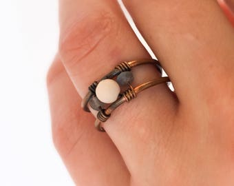 Pink Moonstone ring,Labrodorite ring,Copper ring,Oxidized jewelry