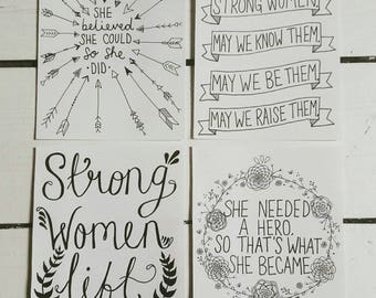 Strong Women Postcards - Feminist - Feminism - Quote - Handtype - Hand Lettering - Postcard Set