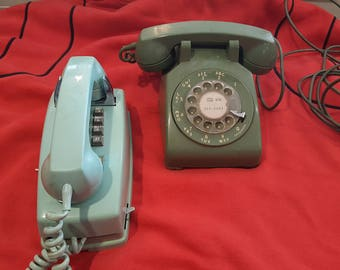 Lot of 2 Vintage Phones - One Rotary and One Pushbutton