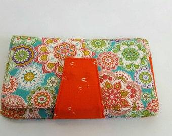 Phone wallet, bi-fold wallet, clutch wallet, women's wallet, girls wallet, orange wallet, orange floral, fabric wallet, cute wallet