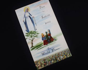 Vintage Pamphlet Lady of Fatima Pray the Rosary Daily for World Peace - 1960 Religious Ephemera How to Pray the Rosary (SD516)