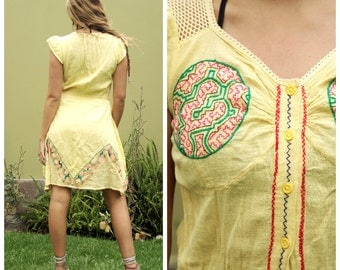 Handmade Shipibo Embroidred Prairie Mandala Dress
