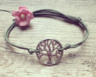 Tree strap in olive green tree of life, blogger, vintage, statement, silver, stainless steel, bracelet of life