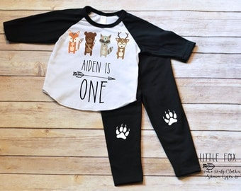 First Birthday Outfit Boy, First Birthday Shirt Boy, Woodland Creatures