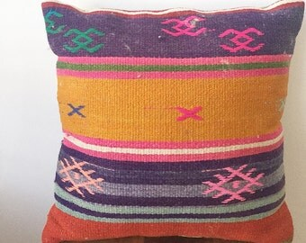 "Vintage Turkish Kilim Rug Pillow 16""X16"""