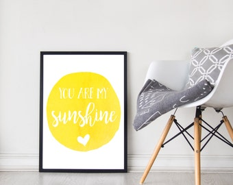 You Are My Sunshine | Wall Art | Nursery Decor | Watercolour | Yellow