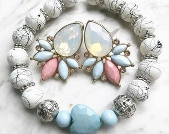 Bracelet with heart marmorisierten and silver-tone beads turquoise bead silver marble