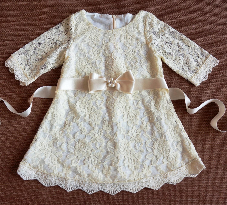 Ivory Lace Girl Dress Lace Flower Girl Dress Flower Girl