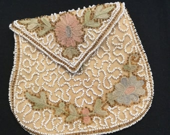 Vintage  hand beaded and embroidered purse