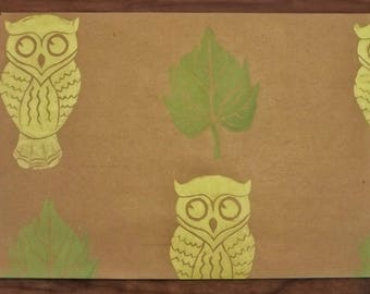 HANDPRINTED GIFTWRAP- Owls and Leaves, Lino Print, Recycled Kraft paper Gift wrap, Yellow Owls