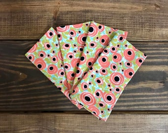 Cloth Napkins - Pink Poppies - Set of 4 - Handmade Cloth Dinner Napkins