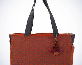 Flower of Life Everyday Bag Terracotta Grey