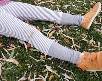 High Cuff Legging - Grey Stripe Thermal