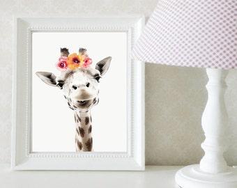 Floral Giraffe Digital Print
