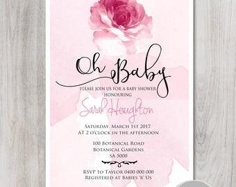 Floral Watercolour Baby Shower Invitation, watercolour invitation