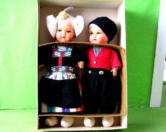 Vintage Rozetta Dolls, Boy and Girl, dressed in Volendam, Holland Folk Costumes