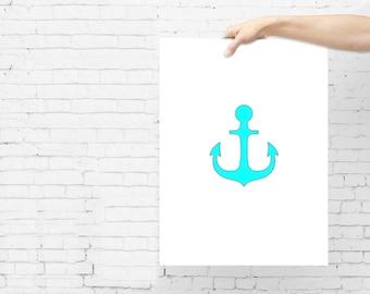 Instant DIGITAL Print Nursery Or kids Room Decor, Kids Art Prints - OCEAN ANCHOR