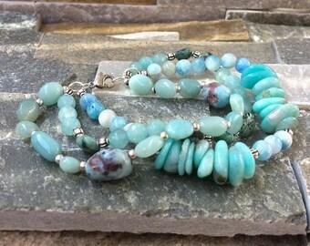 Maritim gemstone bracelet in Amazonite jade turquoise Larimar sea