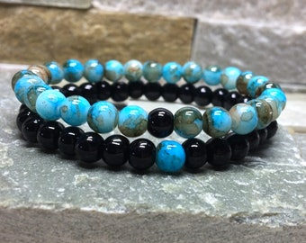 Partner bracelets bracelet set him and 6mm black blue long distance relationship