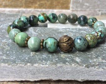 Lotus jade turquoise mala/bracelet