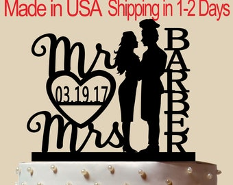 Kitchener and Airline Hostess Cake Topper, Wedding Cake Topper,  Bridal Shower Topper, Wedding Decoration, Custom Name, Silhouette,  CT178
