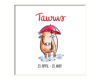 Mounted Taurus illustration print