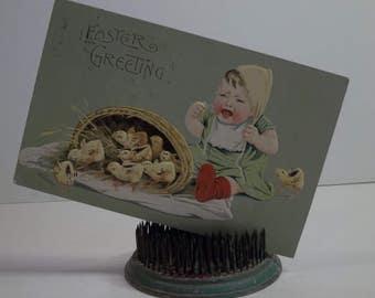 Vintage Easter Postcard Baby With Basket Of Chicks 1909