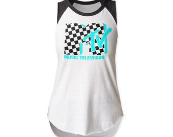 MTV Checkered Logo 30/1 Cotton Cut Raglan w/Raw, Edged Sleeves (MTVSLR01) White/Heather Black