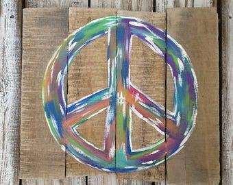 Peace Sign   Hippie Art   Boho   Housewarming Gift   Peace Sign Wall Art   Wall Art   Home Decor   Home & Living