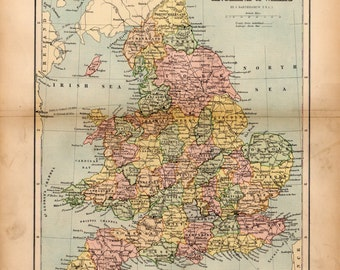 Antique Map of England and Wales, Prints, Maps, Map of England, Map of Wales, England and Wales, United Kingdom, Antique Maps, Old Maps
