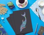 Dolphin Greetings Card from original illustration, cute dolphin card, colourful dolphin art, blank dolphin card